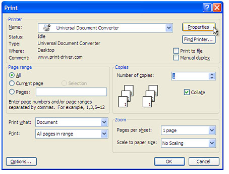 Select Universal Document Converter from the printers list and press Properties button.